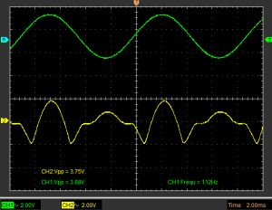Mutant 259 timbre section on breadboard output signal 1