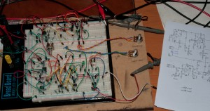 Mutant 259 timbre section on breadboard