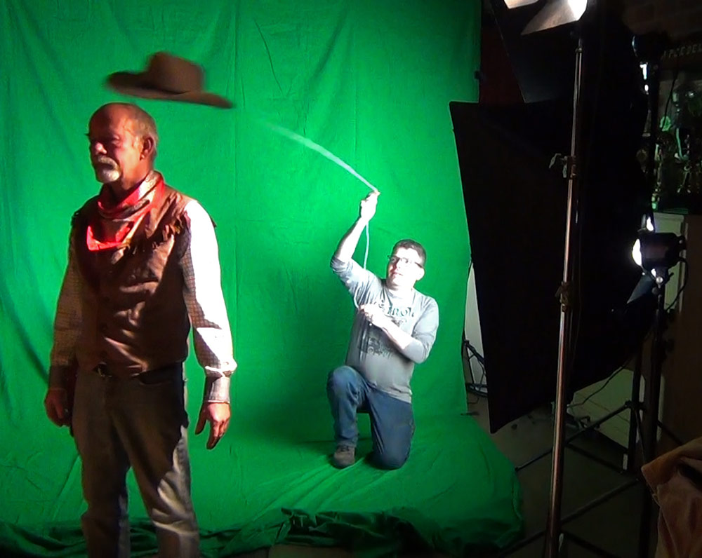 Practical effects in front of a green screen: shooting hats off heads