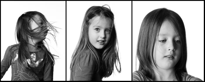 Portraits on white seamless background - black&white