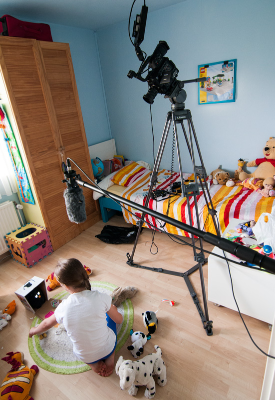 Using the tripod to get a bird's eye view of the room